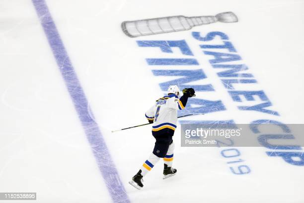 Carl Gunnarsson of the St Louis Blues celebrates his gamewinning goal during the first overtime period to defeat the Boston Bruins 32 in Game Two of...