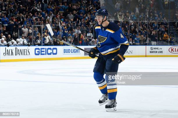 Carl Gunnarsson of the St Louis Blues celebrates his goal against the Los Angeles Kings at Scottrade Center on October 30 2017 in St Louis Missouri