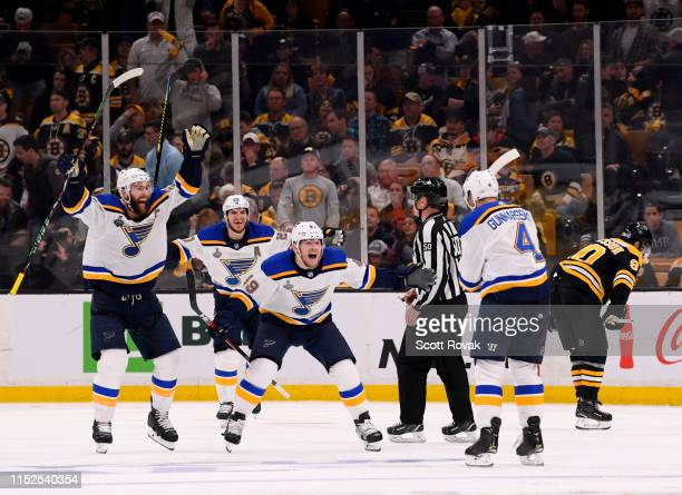 Carl Gunnarsson of the St Louis Blues celebrates his goal with teammates Ivan Barbashev Alexander Steen and Alex Pietrangelo after scoring in the...