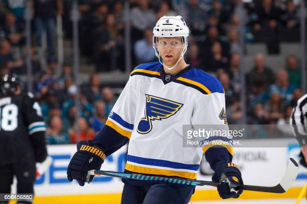 Carl Gunnarsson of the St Louis Blues looks on during the game against the San Jose Sharks at SAP Center on March 16 2017 in San Jose California