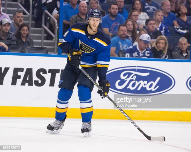 Carl Gunnarsson of the St Louis Blues skates against the Tampa Bay Lightning at Amalie Arena on October 14 2017 in Tampa Florida n