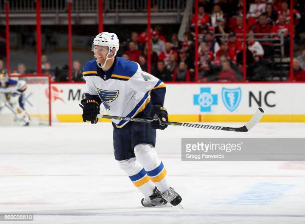 Carl Gunnarsson of the St Louis Blues skates for position on the ice during an NHL game against the Carolina Hurricanes on October 27 2017 at PNC...