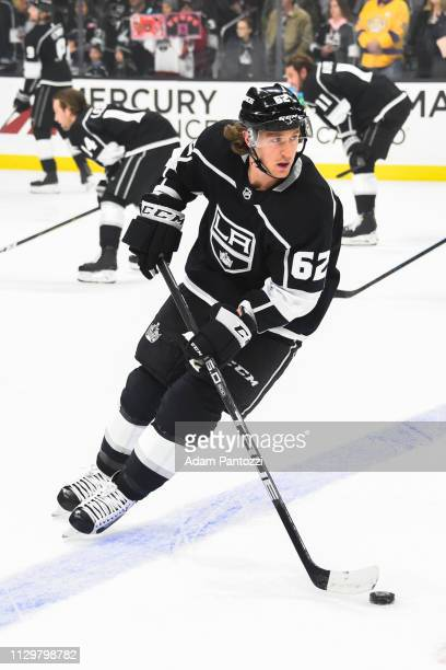 Carl Hagelin of the Los Angeles Kings skates during warmup before the game against the Vancouver Canucks at STAPLES Center on February 14 2019 in Los...