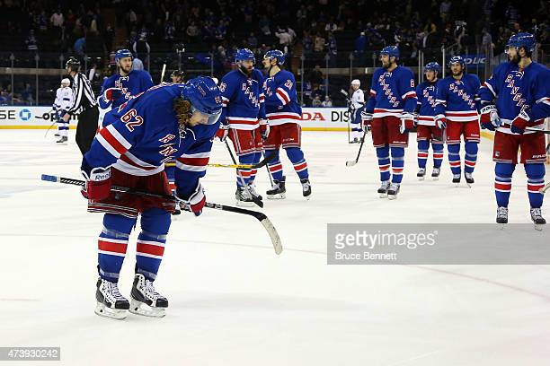 Carl Hagelin of the New York Rangers reacts as he skates after being defeated by the Tampa Bay Lightning 6 to 2 in Game Two of the Eastern Conference...