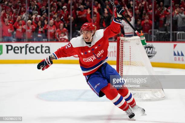 Carl Hagelin of the Washington Capitals celebrates after scoring an empty net goal for his second goal of the game in the third period against the...
