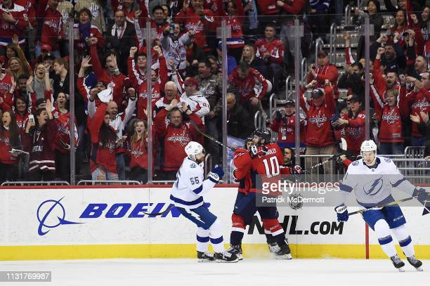 Carl Hagelin of the Washington Capitals celebrates with Brett Connolly after scoring a second period goal against the Tampa Bay Lightning at Capital...
