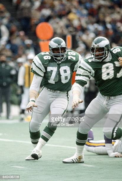 Carl Hairston of the Philadelphia Eagles in action against the Minnesota Vikings during the NFC Divisional Playoff Game January 3 1981 at Veterans...