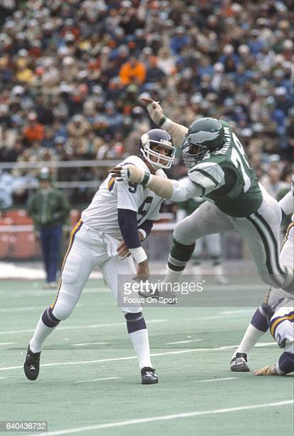 Carl Hairston of the Philadelphia Eagles puts the pressure on quarterback Tommy Kramer of the Minnesota Vikings during the NFC Divisional Playoff...
