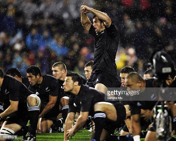 Carl Hayman of the All Blacks leads the Haka before the 2007 Tri Nations series match between New Zealand and Australia at Eden Park on July 21 2007...