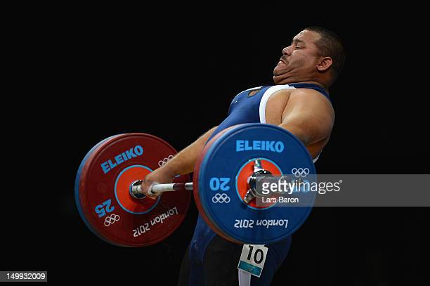 Carl Henriquez of Aruba competes in the Men's 105kg Weightlifting final on Day 11 of the London 2012 Olympic Games at ExCeL on August 7 2012 in...