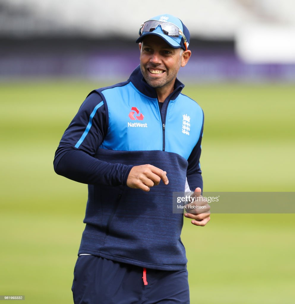 Carl Hopkinson lead fielding coach of England during a nets session at Old Trafford on June 23, 2018 in Manchester, England.