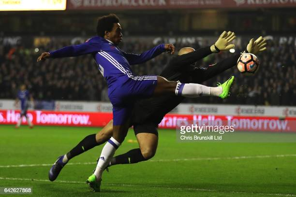 Carl Ikeme of Wolverhampton Wanderers denies Willian of Chelsea during the Emirates FA Cup Fifth Round match between Wolverhampton Wanderers and...