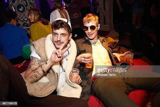 Carl Jakob Haupt and guest attend the Dandy Diary and Zalando Fashion Week Party on January 18 2015 in Berlin Germany