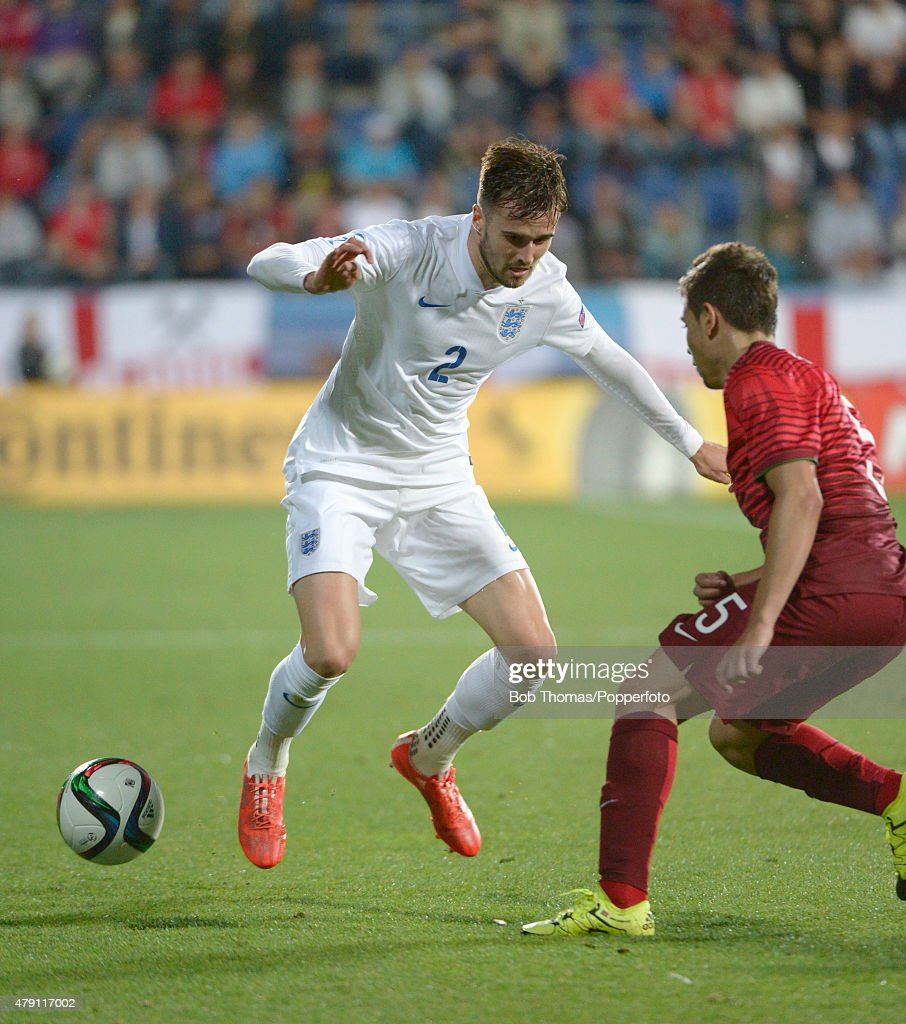 Carl Jenkinson in action for England during the UEFA Under21 European Championship 2015 Group B match between England and Portugal at Mestsky Fotbalovy Stadium on June 18, 2015 in Uherske Hradiste, Czech Republic. Portugal won the match 1-0. (Photo by Bob Thomas/Popperfoto/Getty Images).