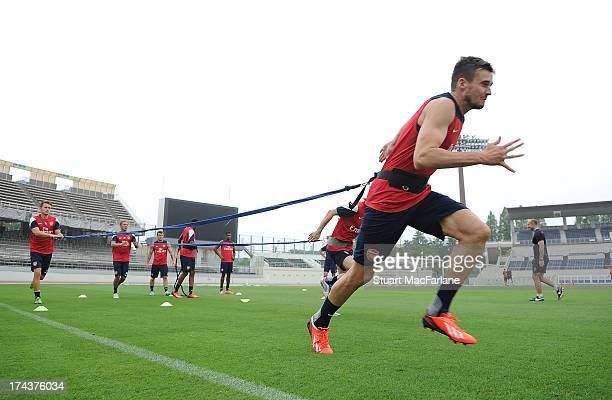 Carl Jenkinson of Arsenal during a training session in Saitama, Japan for the club's pre-season Asian tour at the Saitama Stadium on July 25, 2013 in...
