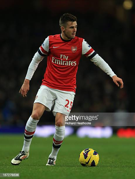 Carl Jenkinson of Arsenal in action during the Barclays Premier League match between Arsenal and Swansea City at the Emirates Stadium on December 1...