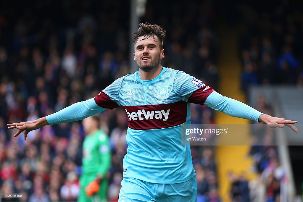 Carl Jenkinson of West Ham United celebrates scoring his team's first goal during the Barclays Premier League match between Crystal Palace and West Ham United at Selhurst Park on October 17, 2015 in London, England.