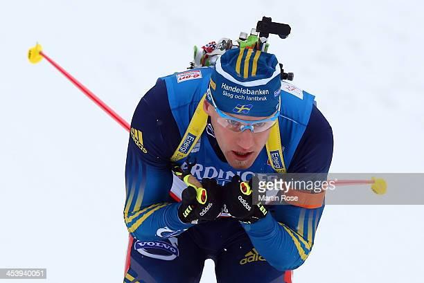 Carl Johan Bergmann of Sweden competes in the men's 10km sprint event during the IBU Biathlon World Cup on December 6 2013 in Hochfilzen Austria