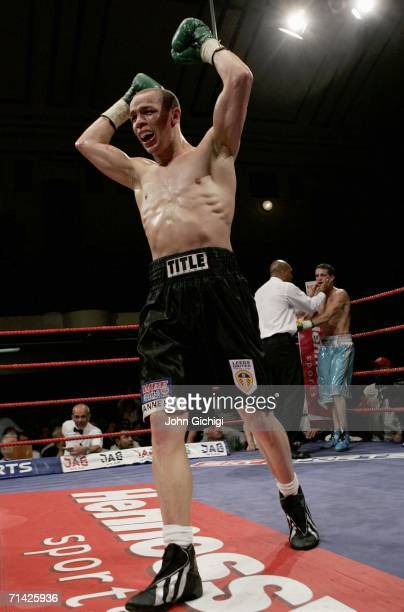 Carl Johanneson celebrates winning the British Super Featherweight fight against Billy Corcoran at York Hall July 12, 2006 in London, England.