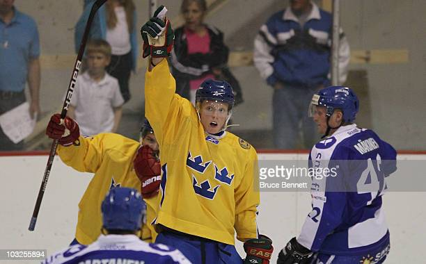 Carl Klingberg of Team Sweden scores a power play goal against Team Finland at the USA Hockey National Evaluation Camp on August 5, 2010 in Lake...