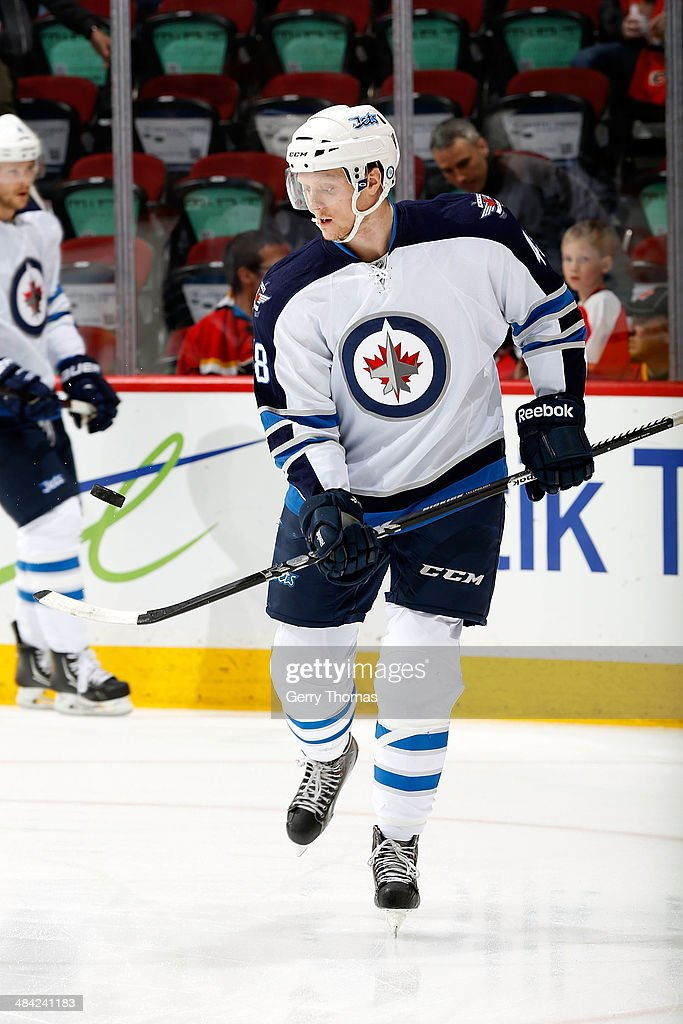 Carl Klingberg #48 of the Winnipeg Jets skates in the warmup before the game against the Calgary Flames at Scotiabank Saddledome on April 11, 2014 in Calgary, Alberta, Canada.