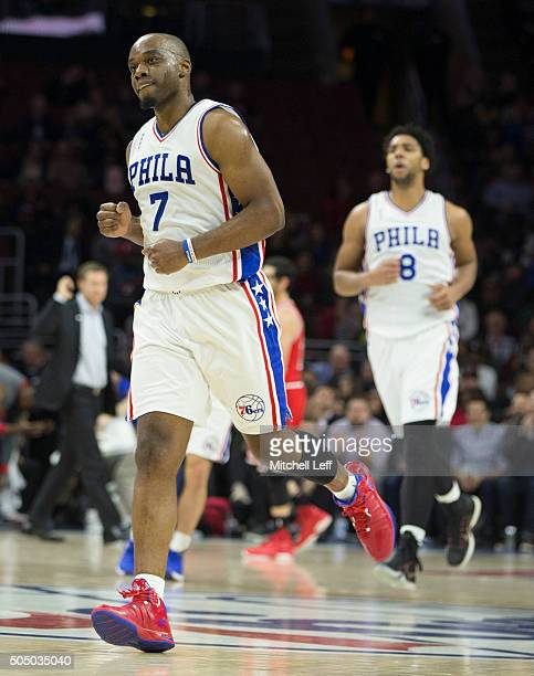 Carl Landry and Jahlil Okafor of the Philaelphia 76ers react in the game against the Chicago Bulls on January 14 2016 at the Wells Fargo Center in...