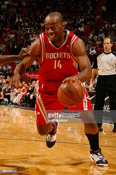 Carl Landry of the Houston Rockets drives against Joel Anthony of the Miami Heat on February 9 2010 at American Airlines Arena in Miami Florida NOTE...