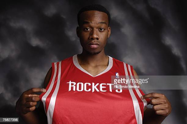 Carl Landry of the Houston Rockets poses for a portrait during the 2007 NBA Rookie Photo Shoot on July 27, 2007 at the MSG Training Facility in...