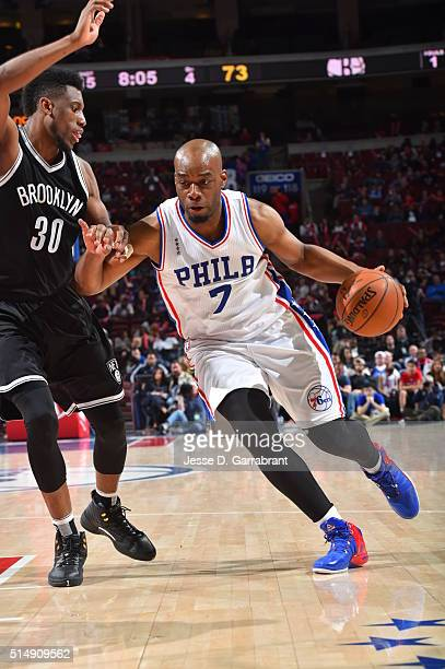 Carl Landry of the Philadelphia 76ers drives to the basket against the Brooklyn Nets at Wells Fargo Center on March 11 2016 in Philadelphia...