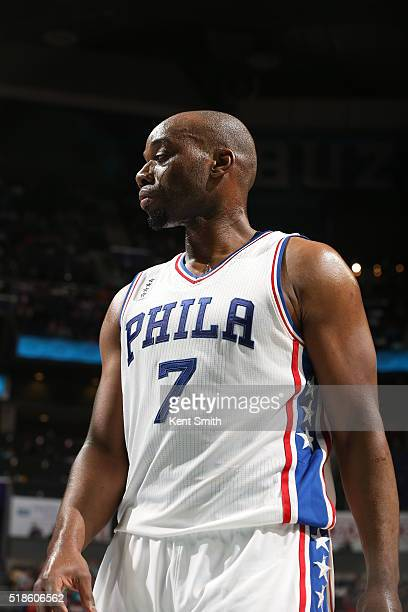 Carl Landry of the Philadelphia 76ers during the game against the Charlotte Hornets on April 1 2016 at Time Warner Cable Arena in Charlotte North...