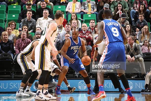 Carl Landry of the Philadelphia 76ers handles the ball against the Utah Jazz on December 28 2015 at vivintSmartHome Arena in Salt Lake City Utah NOTE...