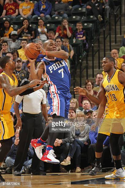 Carl Landry of the Philadelphia 76ers moves the ball against the Indiana Pacers during the game on March 21 2016 at Bankers Life Fieldhouse in...