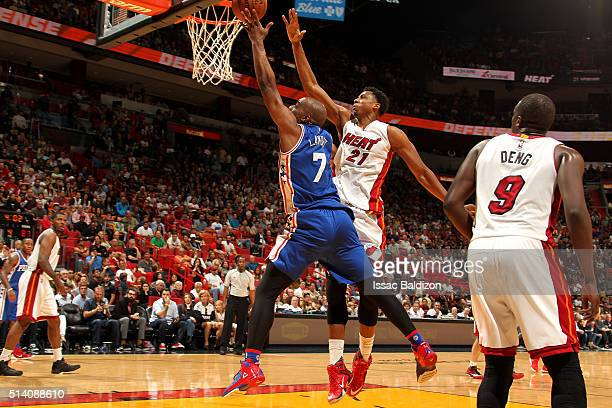 Carl Landry of the Philadelphia 76ers shoots a layup during the game against the Miami Heat on March 6 2016 at AmericanAirlines Arena in Miami...