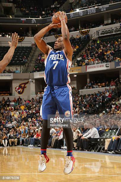 Carl Landry of the Philadelphia 76ers shoots against the Indiana Pacers during the game on March 21 2016 at Bankers Life Fieldhouse in Indianapolis...