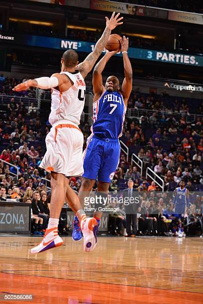 Carl Landry of the Philadelphia 76ers shoots against the Phoenix Suns on December 26 2015 at Talking Stick Resort Arena in Phoenix Arizona NOTE TO...