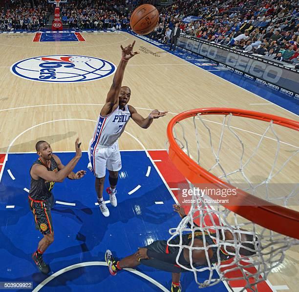 Carl Landry of the Philadelphia 76ers shoots the ball against the Atlanta Hawks at Wells Fargo Center on January 7 2015 in Philadelphia Pennsylvania...