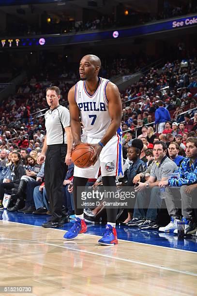 Carl Landry of the Philadelphia 76ers shoots the ball against the Detroit Pistons at Wells Fargo Center on March 12 2016 in Philadelphia Pennsylvania...