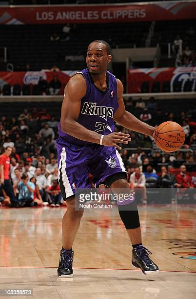 Carl Landry of the Sacramento Kings protects the ball during the game against the Los Angeles Clippers at Staples Center on November 25 2010 in Los...