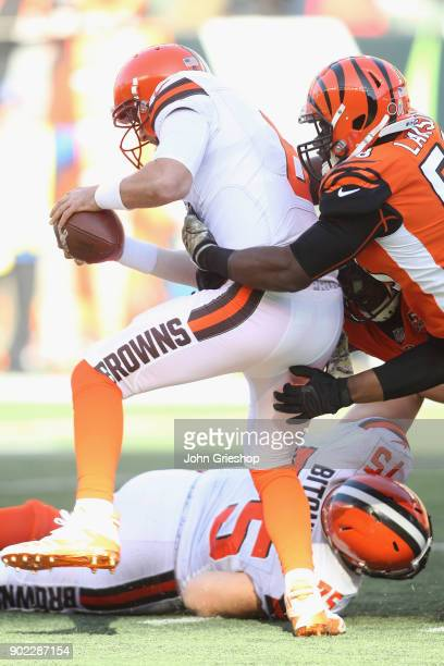 Carl Lawson of the Cncinnati Bengals sacks DeShone Kizer of the Cleveland Browns during their game at Paul Brown Stadium on November 26 2017 in...