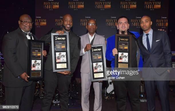 Carl Leonard Wheeler Jr DJ Luke Nasty D'wayne Wiggins and Waleed Hanhan accept award for 'OTW' from ASCAP Senior Director Rhythm and Soul Jonathan...