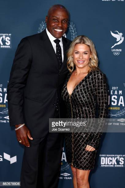 Carl Lewis and Cat Cora attend the 2017 Team USA Awards on November 29 2017 in Westwood California