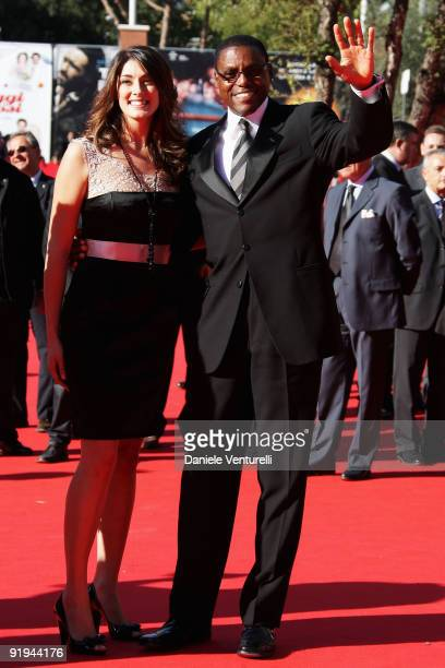 Carl Lewis and Elisa Isoardi attend the FAO Ambassadors Premiere during day 2 of the 4th Rome International Film Festival held at the Auditorium...