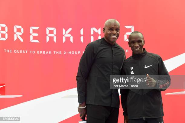 Carl Lewis and Eliud Kipchoge during the final ceremony during the Nike Breaking2 SubTwo Marathon Attempt at Autodromo di Monza on May 6 2017 in...