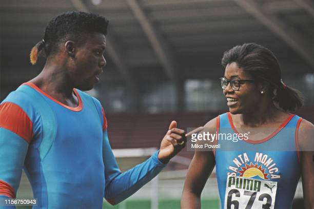 Carl Lewis and his sister Carol of the Santa Monica Track Club and the United States competing at the IAAF Mobil 1 Grand Prix on 19th August 1990 at...