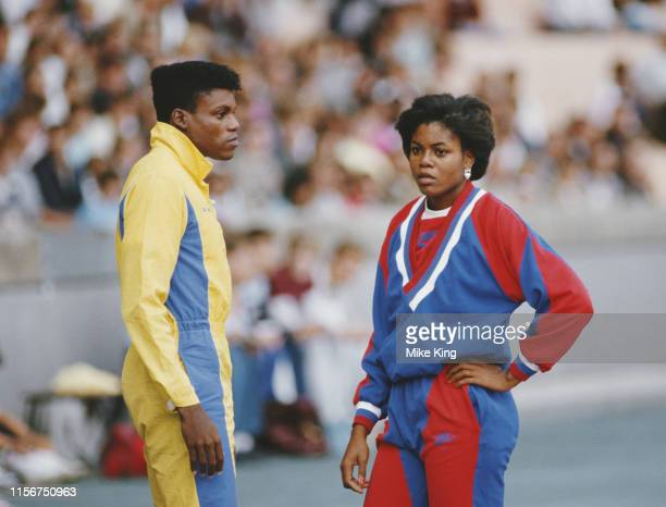 Carl Lewis and his sister Carol of the United States competing at the ASV Sports Festival on 4 August 1985 at at the Mungersdorf Stadium in Cologne,...