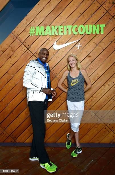 Carl Lewis and marathon world record holder Paula Radcliffe at the Nike FuelStation at Clapham Common a digitally enabled sporting clubhouse designed...