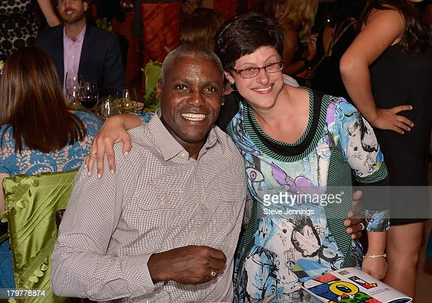 Carl Lewis and Rachel Lipke attend Best Buddies Challenge Hearst Castle Kickoff Reception Hosted by Maria Shriver at Tehama Golf Club on September 6...