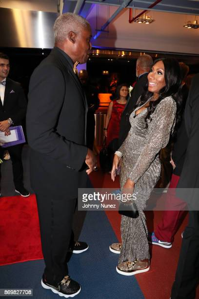 Carl Lewis and Towanda Braxton attend the 2017 USATF Black Tie Sneakers Gala at The Armory Foundation on November 2 2017 in New York City