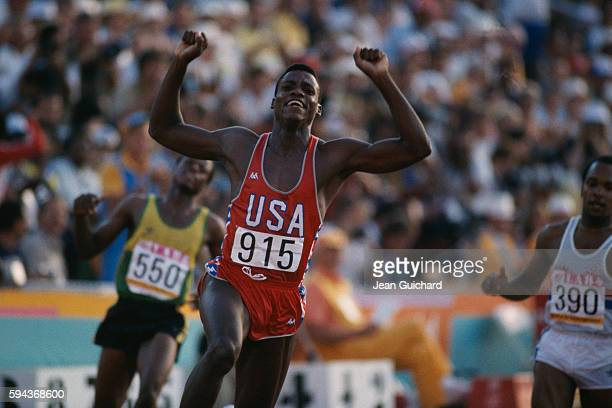 Carl Lewis at the finish line gave a crowd of 92000 the run it paid to see when he won a gold medal in the men's 100meter sprint putting himself on...