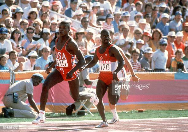 Carl Lewis from US and Ben Johnson from Canada in action in the 100m Men's final Los Angeles Olympic games 08 August 1984 Carl Lewis won the gold...